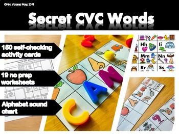 Phonics Activities : Secret CVC Words for Kindergarten