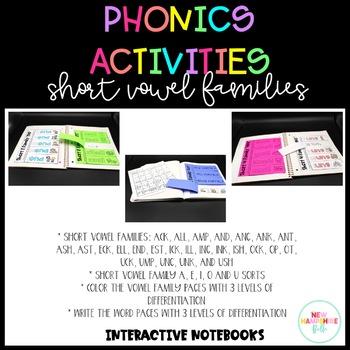 Phonics Activities Short Vowel Families Interactive Notebooks