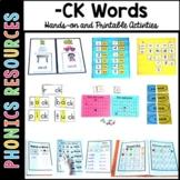 Phonics Activities for CK words: ick, ack, uck, eck, ock