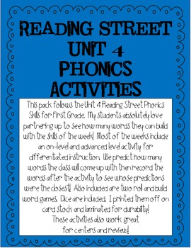 Phonics Activities for Reading Street Unit 4