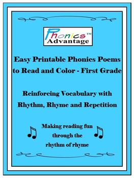 Phonics Advantage Easy Printable Phonics Poems to Read & Color/Grade 1