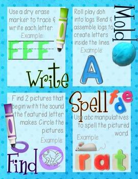 Phonics Alphabet Center Mats -Write, Mold, Find, Spell! - Play Doh/Activity Mats