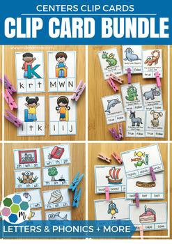 Phonics & Alphabet Clip Cards BUNDLE