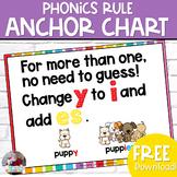 "Phonics Anchor Chart- Change ""y"" to ""ies"" FREEBIE"