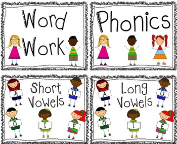 Phonics Anchor Posters for Focus Wall Long and Short Vowels A, E, I ,O, U