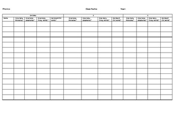 Phonics Assessment Sheet