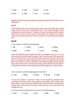 Phonics Assessment Test Answer Key