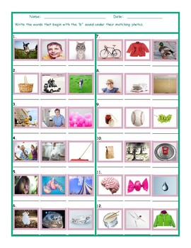 Phonics B Sound Photo Worksheet