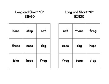 Phonics BINGO sets