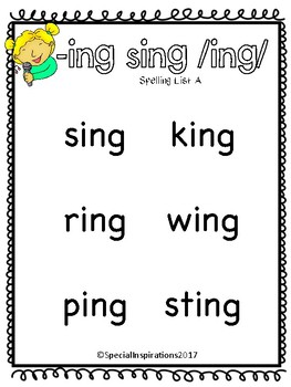 Phonics Based Spelling Tests for Word Families/Welded Sounds (Orton-Gillingham)