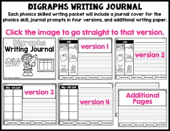 Phonics-Based Writing Journal: Digraphs