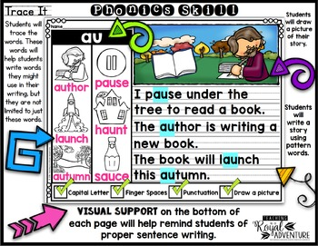 Phonics-Based Writing Journal Prompts: Diphthongs