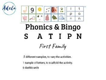 Phonics Beginners Bingo Consonants Vowels Vocabulary. First Family