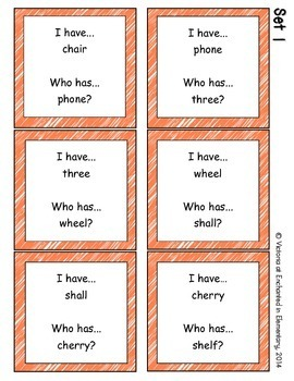 Phonics: Beginning Digraphs- I Have, Who Has?