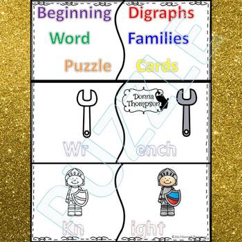 "Phonics ""Beginning Digraphs"" (Puzzle Cards)"