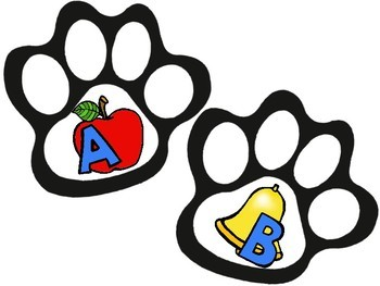 Phonics Beginning Sound Alphabet Paw Print Game