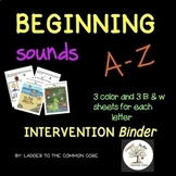 Beginning Sounds Intervention Binder (Down syndrome, speci