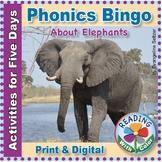 Phonics Bingo About Elephants: Print & Digital Activities