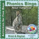 Phonics Bingo About Kangaroos: Print & Digital Activities