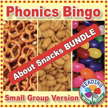 3 Phonics Bingo Games About Snacks: Small Group Version {Print & Digital}