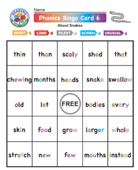 Phonics Bingo About Snakes: Print & Digital Activities for Five Days