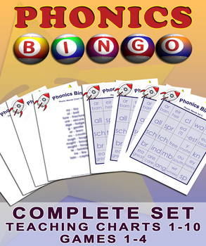 Phonics Bingo Blends - All Four Games and Accompanying Teaching Charts