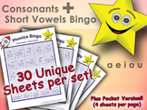 Phonics Bingo - Consonants + Short Vowel Blends (a, e, i, o, u)