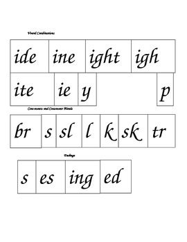 Phonics Blending Chunks featuring Long i as I_e, ie, igh or y