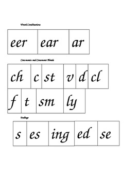 Phonics Blending Chunks featuring long e ear, eer