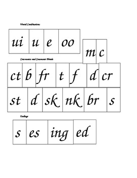 Phonics Blending Chunks featuring long u, ui, oo