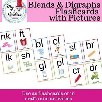 Phonics Blends & Digraph Flashcards with Pictures