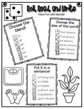 Phonics (Blends) Roll, Read, and Write Activity (Part II) ~ Free!