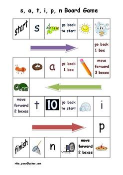 Phonics Board Game (s, a, t, i, p, n)