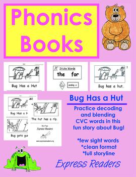 Phonics Book, CVC Words, Bug Has a Hut