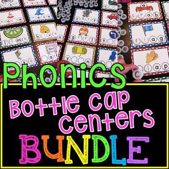 Phonics Bottle Cap Centers MEGA BUNDLE