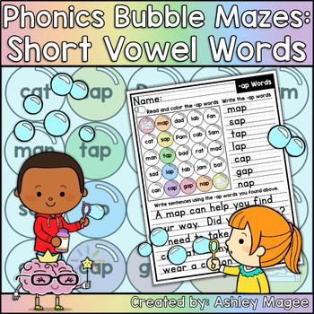 Phonics Bubble Mazes: Short Vowel CVC Words