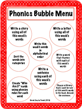 Phonics Bubble Menu