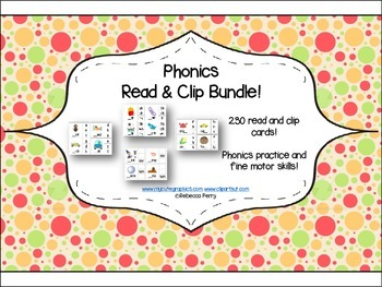Phonics Bundle – 230 cards!! Read & Clip – Phonics & Fine Motor Skills