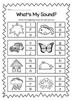 Phonics Printable Worksheet Bundle - Beginning Sounds and Early Spelling