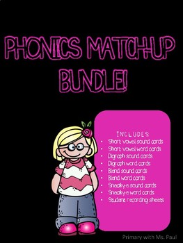 Phonics Bundle Cards and Recording Sheets/Scavenger Hunts