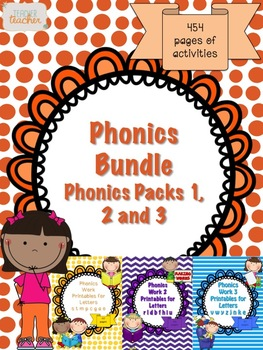 Phonics Bundle Letter CVC Word Sentence Work Packs 1, 2 and 3 (454 pages) K-2