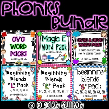 Phonics Bundle Pack- CVC, CVCC, CCVC, Magic E, L Blends, R Blends, and S Blends