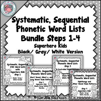 Phonics Bundle of Word Lists Superhero Theme