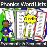 Phonics Bundle of Word Lists Superhero Theme