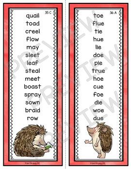 Phonics Bundle of Word Lists Hedgehog Theme