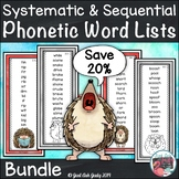 Phonics Bundle of Word Lists Hedgehog Theme
