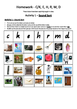 Phonics Set 2 - C, K, E, H, R, M, D