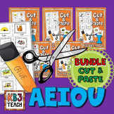 Phonics: CVC Cut & Paste Matching Activity (AEIOU BUNDLE)