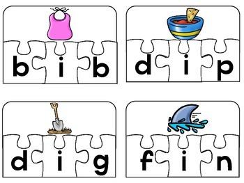Phonics CVC Puzzles Differentiated