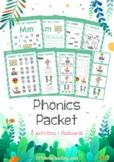 Letter M Phonics CVC Reading Grapheme NO-PREP worksheets flashcard packet